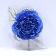 Hand Wrist Flower Blue  Prom Bracelets Bracelet For Bridesmaids Bridal Wristband Wedding Corsage Accessories