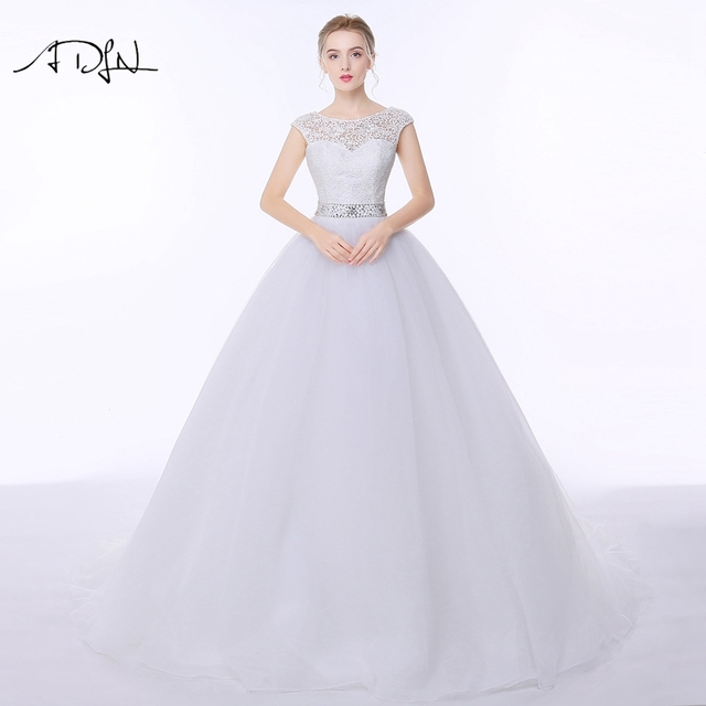 ADLN Lace Wedding Dresses 2017 Vestido de Noiva A-line Tulle Low Back Princess Russian Bridal Gown Customized