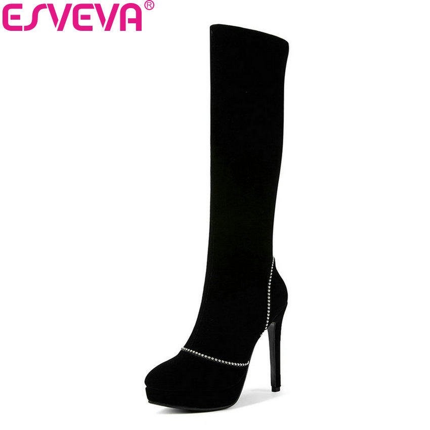 ESVEVA 2019 Women Boots Platform Thin High Heels Pointed Toe Winter Shoes String Bead Elegant Shoes Woman Knee-high Boots 34-43 new stylish designer lady high heels shoes pointed toe concise slip on office career shoes woman string metal bead shoe edge