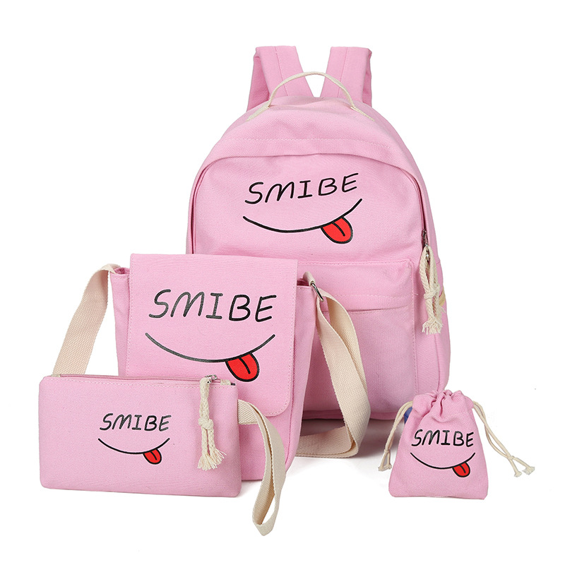 Summer Women Canvas 5Set Backpack Printing Students Bookbag 5 Pcs School Bag Set For Youth Girls With Purse Bear Mochila hynes eagle 3 pcs set 3d letter bookbag boys backpacks school bags children shoulder bag mochila girls exo printing backpack