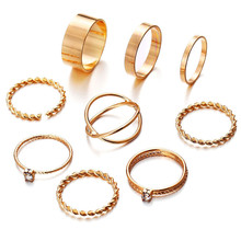 2019 New 9 Pcs/Set Fashion Crystal Geometric Round Knuckle Rings Set For Women Vintage Twist Weave Finger Ring Female Jewelry