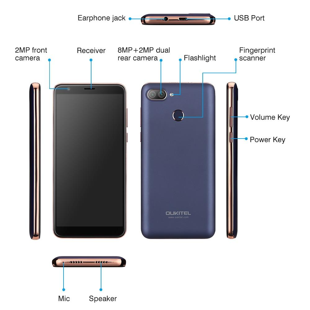 Original OUKITEL C11 Pro 4G Smartphone 5.5 inch 18:9 Android 8.1 Quad Core 3GB RAM 16GB ROM Cell pho