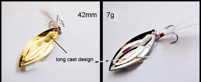 Fishing Casting Spoon Spinner Metal Bait Color SilverYellow Feather Hook Material Zinc-Alloy 42mm7g