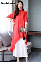 2019 summer aodai women qipao chinese style elegant qipao stand collar half sleeve asian casual chiffon long aodai qipao