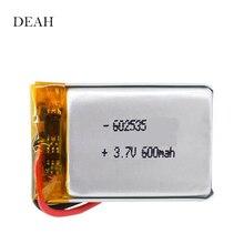3,7 в 600 мАч 602535 062535 литий-ионный полимерный литий-ионный аккумулятор для DVR gps MP4 тахограф bluetooth аккумулятор для наушников
