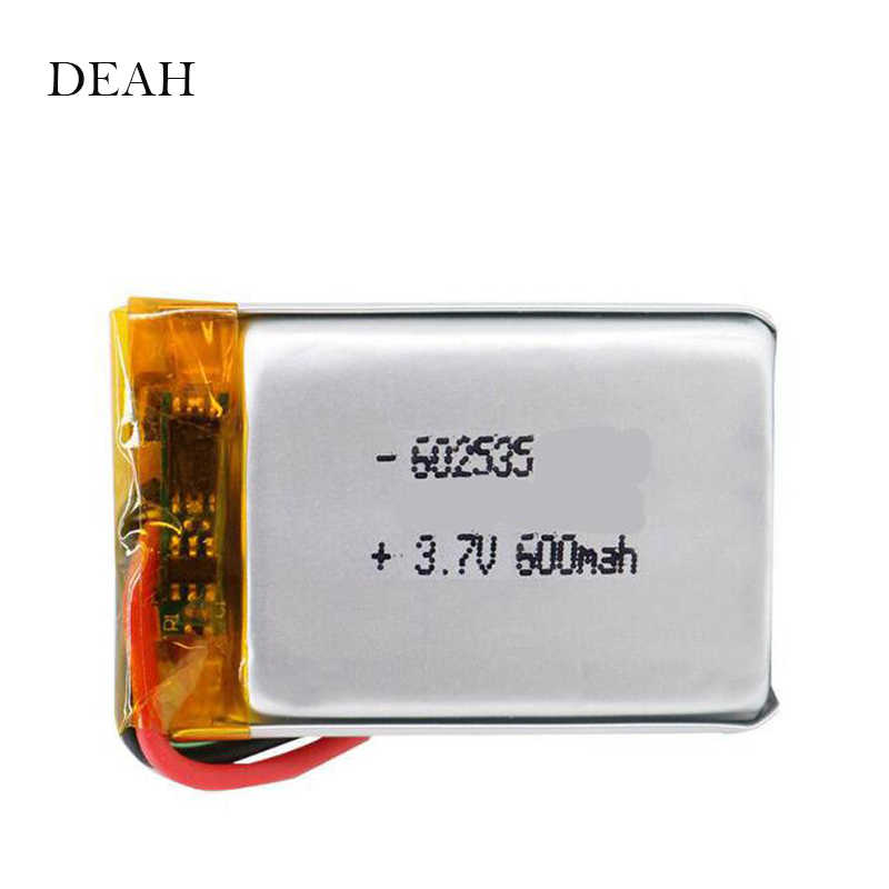 3.7V 600mAh 602535 062535 Lithium Polymer li ion Rechargeable Battery For GPS MP3 MP4 Car DVR Tachograph headphones li ion cell