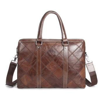 Vintage Plaid Brand Designer Briefcase Genuine Leather Laptop Bag For Men And Women