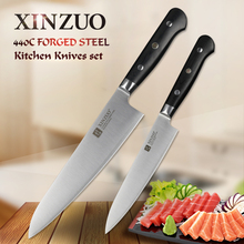 XINZUO 2 PCS Kitchen Knife Set Paring Chef Knives 3 Layers 440C Clad Forged Steel Knives