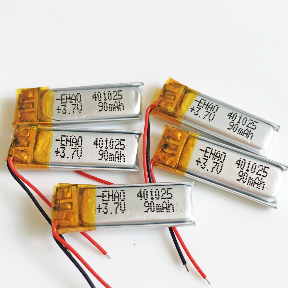 5 pcs 3.7V 90mAh <font><b>401025</b></font> li-po lithium polymer rechargeable battery for MP3 GPS bluetooth headset video pen digital productors image