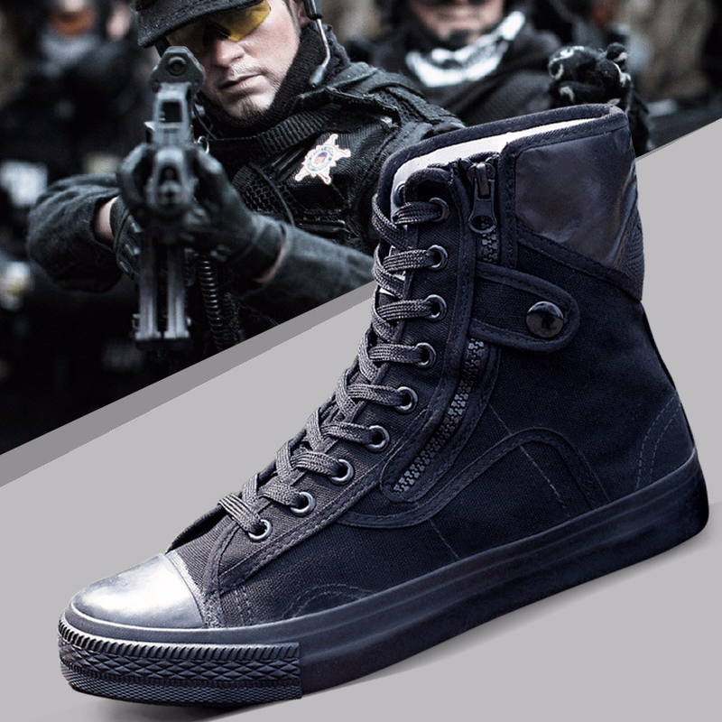 2018 Army Fashion Black Breathable Safety Shoes Work Protective Shoes Anti-skid Wear Training Boots High