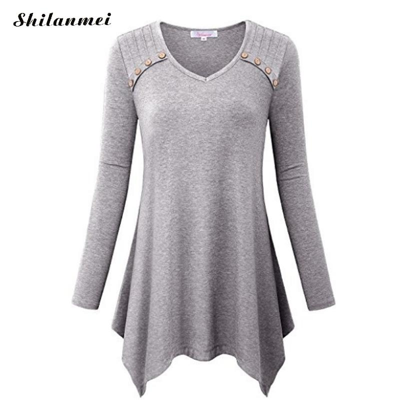 New Plus Size 3xl/4xl/5xl/ T Shirt Women 2019 Spring Autumn Fashion Long Sleeve Irregular Top Solid Black/Purple Tee Shirt Femme