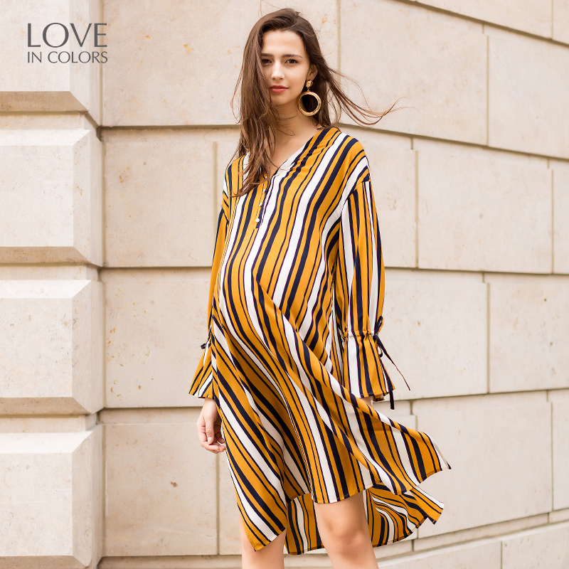 Loveincolors Maternity Striped Dress Long Sleeves Chiffon Contrast Color Pregnant Women Big Size Clothes