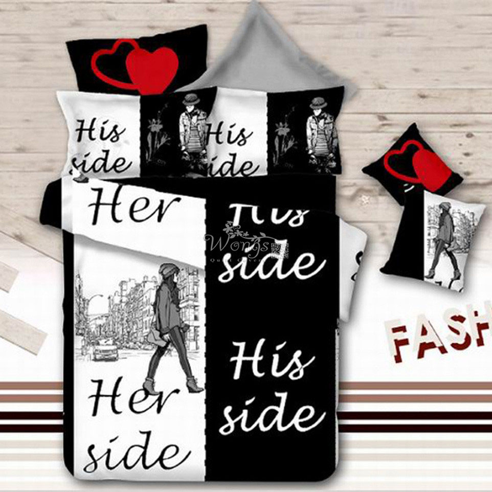 Her Side His Side Bedding Set Cover Sets 4PCS Bed Sheets Pillowcases Queen  Size Girls. Compare Prices on Bedroom Room Set  Online Shopping Buy Low Price