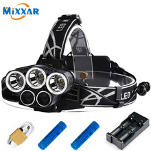 5 Mode Adjustable CREE 3XML-T6 White 2XPE Blue LED Headlamp Headlight 18650 Rechargeable Battery Head Lamp for Hunting Torch