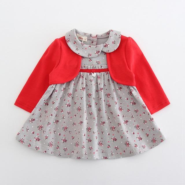 בגדי תינוקות פעוט ילדי תינוק בנות שמלת מקשה אחת ארוך שרוול פיטר פן צווארון פרחי הדפסת מסיבת נסיכת שמלת 2 צבע 0 2Y