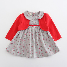 Baby Clothes Toddler Kids Baby Girls One Piece Dress Long Sleeve Peter Pan Collar Flowers Print Party Princess Dress 2Color 0-2Y