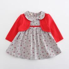 เด็กเสื้อผ้าเด็กวัยหัดเดินเด็กทารกเด็กหญิงOne PieceชุดแขนยาวPeter Pan Collarดอกไม้พิมพ์ชุดเจ้าหญิง2สี0 2Y