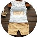 2016 Летний новый детская одежда хлопок o-образным вырезом без рукавов мальчиков устанавливает с звезда письмо печати A017