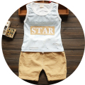 2016 Summer new  children clothes cotton o-neck sleeveless baby boys sets with star letter print  A017