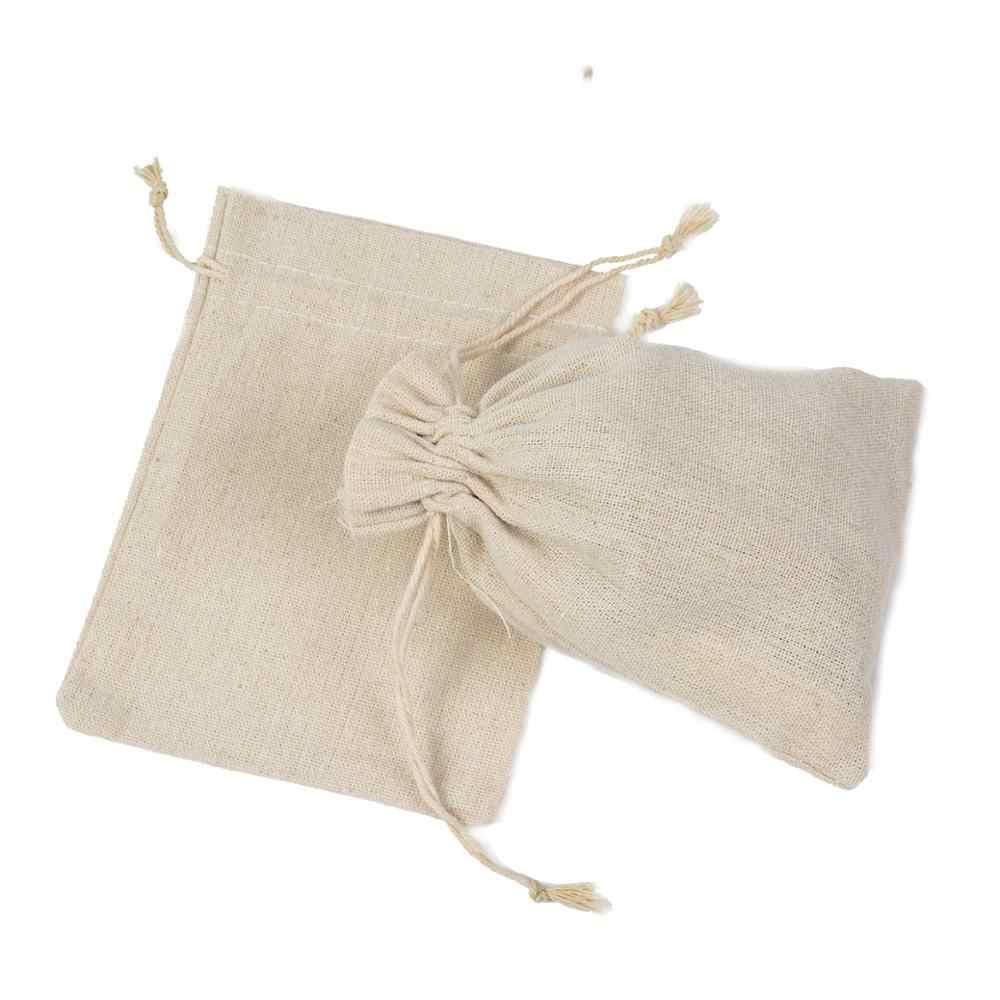 Baru Dropshipping Wholesale Harga Resuable Yute Linen Serut Kantong Kemasan Hadiah Tas Logo Dicetak Perhiasan Tas