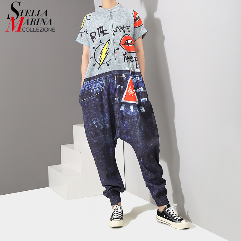 2019 Korean Style Short Sleeve Women Denim Harem Romper   Jumpsuit   Letter Pattern Printed Lady Big Size Hippie Loose Overalls 3576