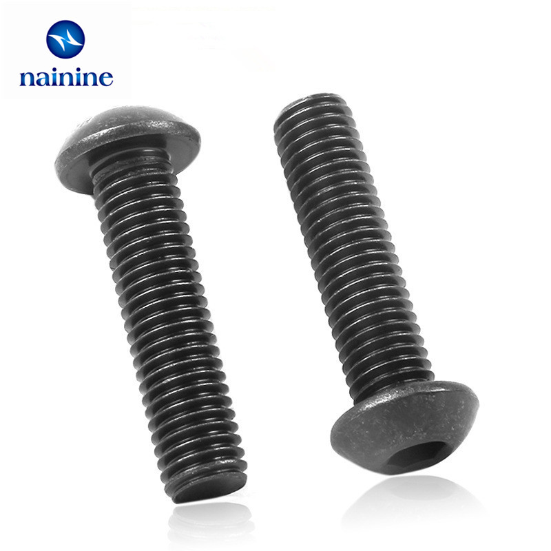 50Pcs ISO7380 M4 Alloy Steel 10.9 Level Black Hexagon Socket Button Head Screw Furniture Mushroom Cap Hex Bolts HW041 50pcs m2 m2 5 m3 m4 iso7380 gb70 2 304 stainless steel a2 round head screws mushroom hexagon socket button head screw