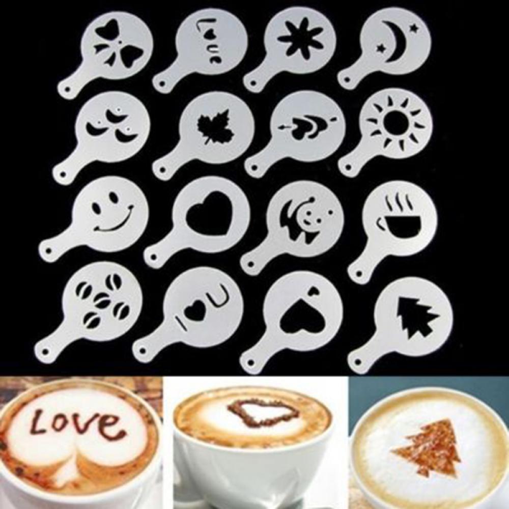 Milk Coffee Cappuccino Stencil Filter Maker Set Of 16 Art Mold Templates Tool