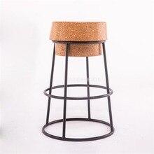 Простая в современном скандинавском стиле Круглый Барный стул из мягкого дуба деревянное сиденье металлический железный, Деревянный Досуг барная стойка для кафе стул высокий скамеечка для ног