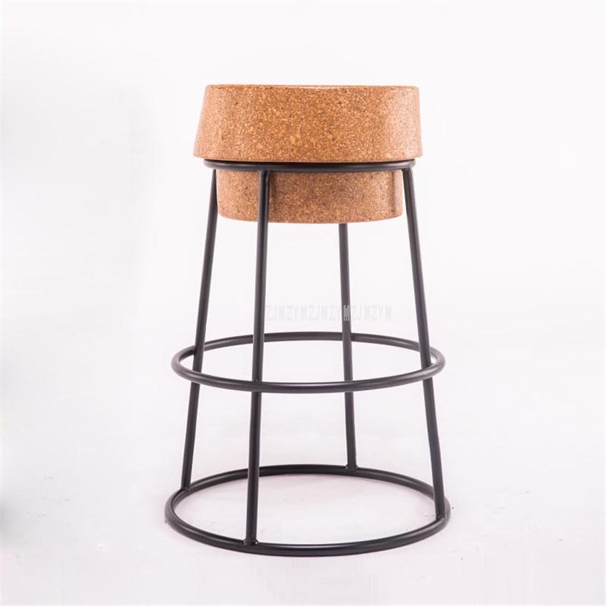 Simple Modern Nordic Round Circle Bar Stool Soft Oak Wood Seat Metal Iron Wooden Leisure Coffee Bar Counter Stool High Footstool
