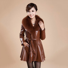 Spring Autumn Winter Women's Genuine Real Sheep Leather Coats with big Fox Fur Collar Natural fur Jackets Lady long outwear coat