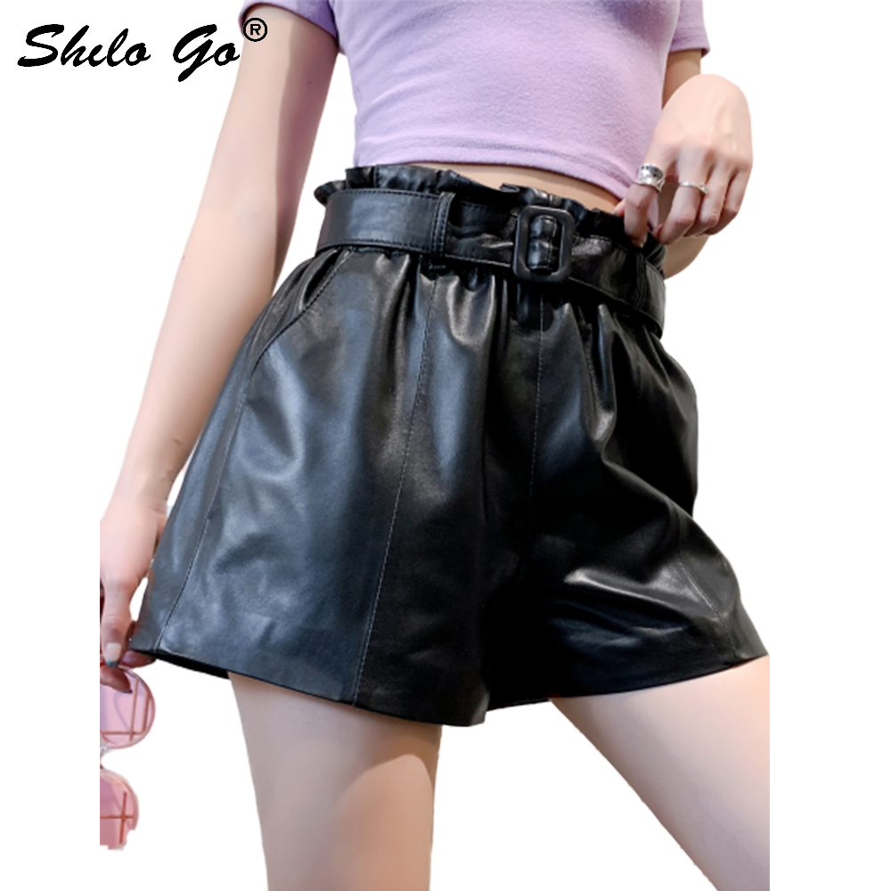 Streetwear Leather Shorts Women Summer Casual Belt High Waist Sheepskin Genuine Leather Shorts Concise Female Hot Shorts