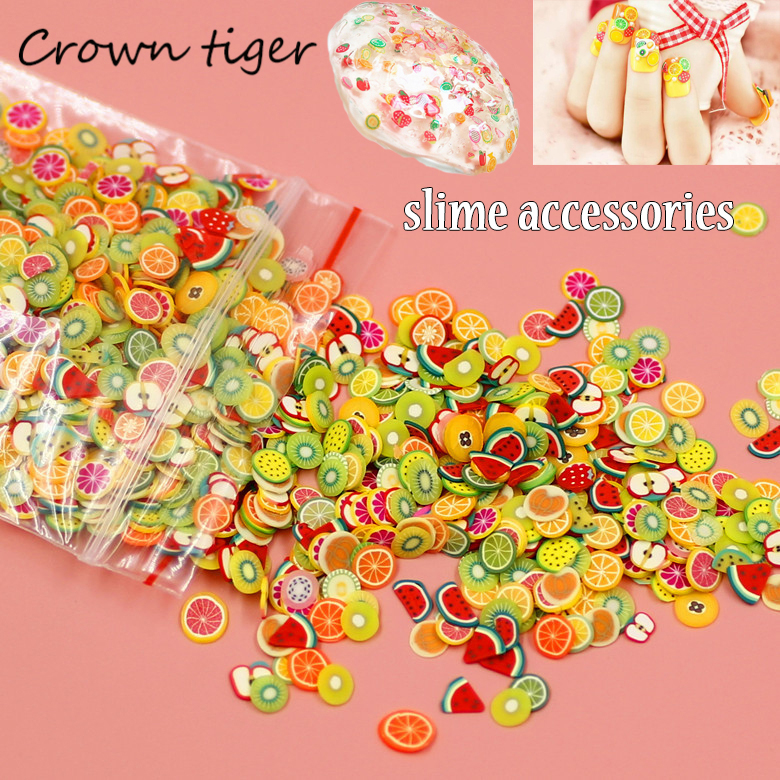 Soft pottery 1000pcs Fruit slices Filler For Nails Art Tips Slime Fruit For Kids Lizun DIY slime Accessories Supplies Decoration 1000pcs orange stickers fruit flower animal 3d polymer clay tiny fimo fruit slices nail art diy designs nail art decorations