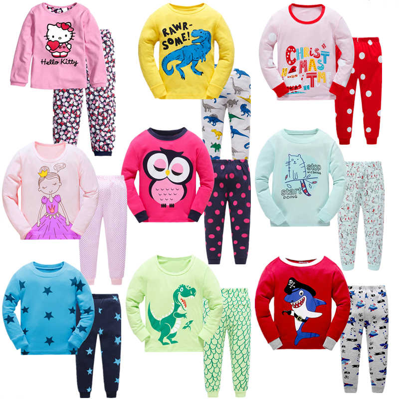 2018 children Autumn Pajamas clothing Set Boys   girls Cartoon Sleepwear  Suit Set kids long- 463034eea