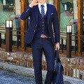 Marcas BONSPOL traje de los hombres traje de negocios trajes decoración nuevo vestido del padrino de boda Traje de tres piezas de Más Tamaño Ocasional