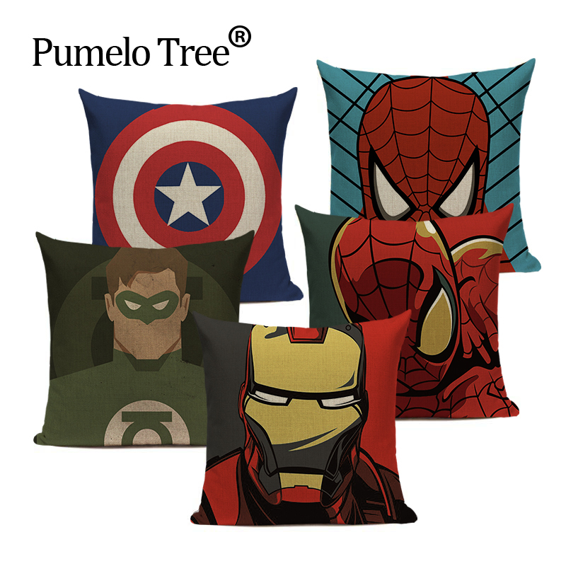 Quality Soft Nordic Style Yarn Spider Man Sofa Bed Cushion Throw Pillow 45Cmx45Cm Square Sofa And Chair Printing Pillows Case