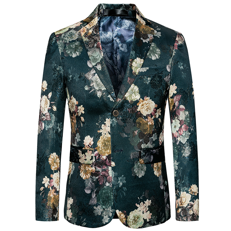 2020 New Arrived Men Blazer Slim Fit Fashion Flower Print Wedding Party Causal Blazer Single Breasted Male Suit Jacket Plus Size