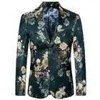 2020 New Arrived Men Blazer Slim Fit Fashion Flower Print Wedding Party Causal Blazer Single Breasted Male Suit Jacket Plus Size