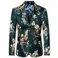 2020 nuevo llegado Blazer para hombre, ajustado, de moda, con estampado de flores, para fiesta de boda, Blazer casual, chaqueta de traje de hombre de talla grande
