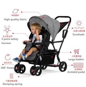 Image 5 - Seebaby pli jumeaux bébé poussette Double landau deux sièges peut se tenir debout/sasseoir nouveau né bébé et enfants landau poussette