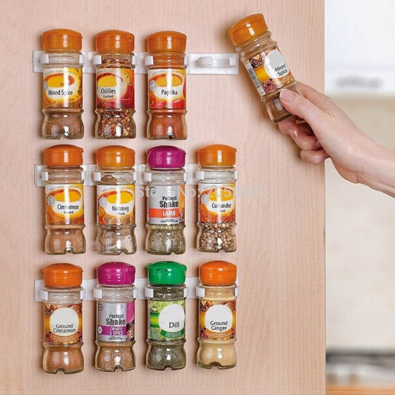 Butihome 1PC Plastic Spice Clips Gripper Seasoning Box Holder Shelving Kitchen Accessories Wall Mounted Bottle Cooking Organizer ...