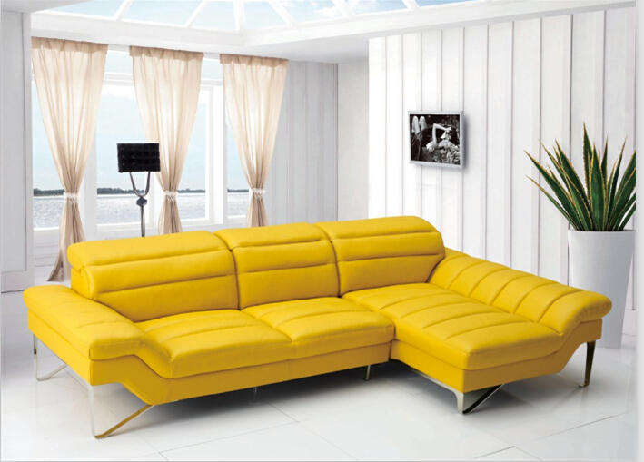 Couches for living room with leather corner sofas l shape - Yellow leather living room furniture ...