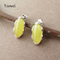 Yoowei Natural Amber Earrings for Women Baltic Genuine Original Amber Beads Long Oval Authentic Stud Earrings S925 Jewelry Gifts