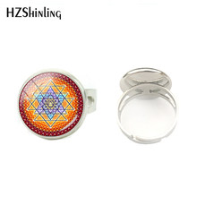 Fashion Chakra Spiritual Buddhist Sri Yantra Glass Dome Ring Sacred Geometry Sri Yantra Meditation Silver Round Rings Jewelry(China)
