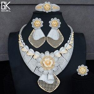 Image 4 - GODKI Luxury Sunflower African Lariat Jewelry Sets For Women Wedding Cubic Zircon Crystal CZ DUBAI Silver Bridal Jewelry Sets