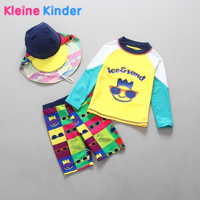 3-stück Jungen Badeanzug Set Top Langarm-shirt + Trunks + Hut Kleinkind Junge Bademode Schwimmen Anzug Kinder rash Guards Badeanzüge