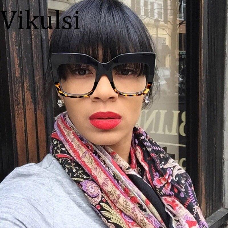 Signore di modo Oversize Cat Eye Sunglasses Women Vintage Marchio di Lusso Del Progettista Grande Cornice Trasparente Occhiali Da Sole Tom Femminile Oculos