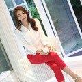 Sistema de la Ropa Del Collar Del Soporte de corea Mujeres Temperamento Camisa de Gasa Blanco Lápiz Pantalones Ropa Traje verano de las mujeres top y pantalones set