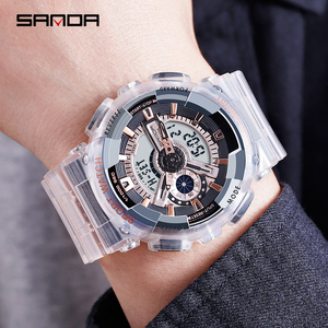 Image 2 - SANDA New Fashion Casual Sports Digital Couple Watch Waterproof LED Wristwatches For Men Women Lovers Watches Relogio Masculino