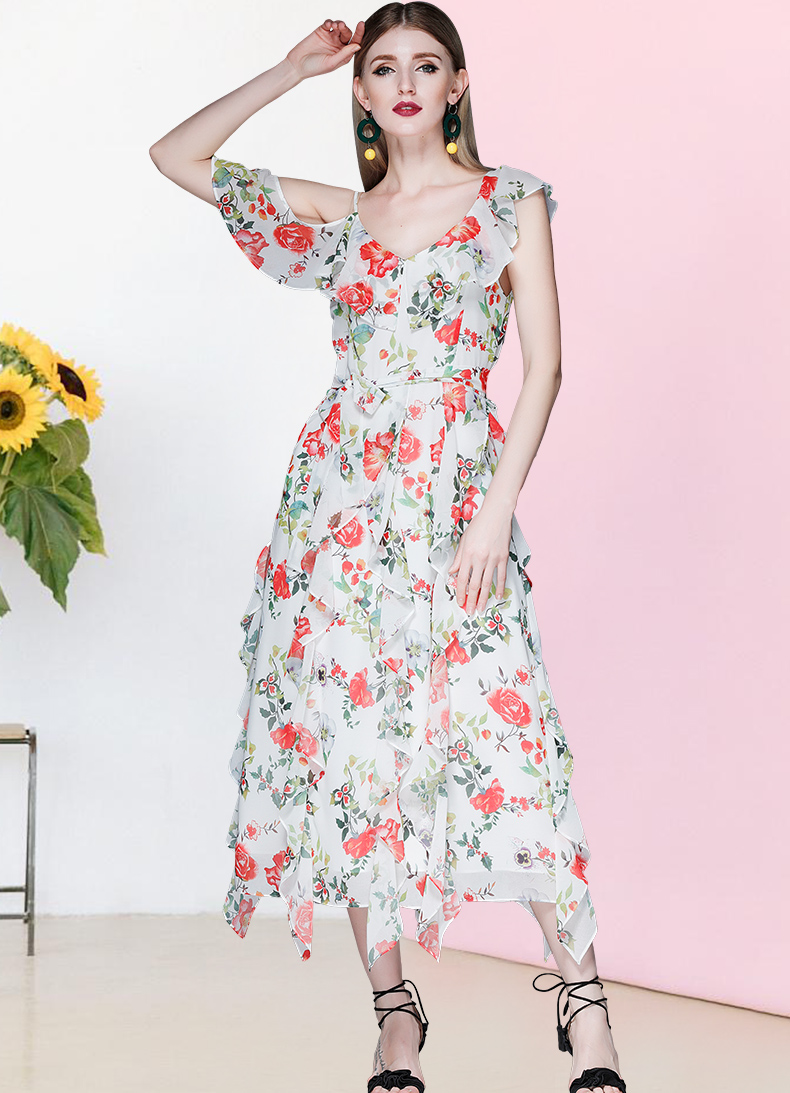 See Orange Sexy V Neck Bohemian Dress Summer 2018 Women Florals Beach Dress Chiffon Boho Dresses SO2273
