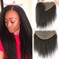 8A Unprocessed Brazilian Lace Frontal Closure Kinky Straight Ear to Ear 13X6 Lace Frontal Closure With Baby Hair Bleached Knots
